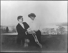 Pre Lucy Mercer, obviously: Franklin D. Roosevelt and Eleanor Roosevelt, informal shot in Newburgh, New York. (May 7, 1905)
