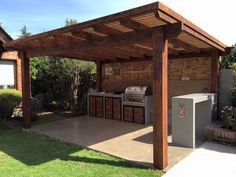 Quincho Outdoor Kitchen Patio, Outdoor Pergola, Backyard Pergola, Outdoor Kitchen Design, Backyard Storage Sheds, Backyard Sheds, Backyard Patio Designs, Outdoor Living Rooms, Outside Living