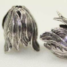 Qty 2 Oxidized Brass Tulip Bead Caps