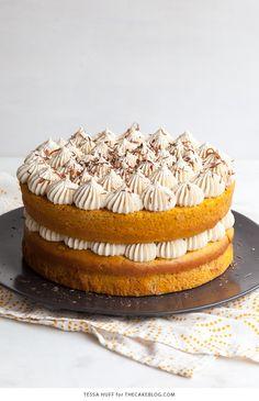 Pumpkin Tiramisu Cake for Thanksgiving dessert. Pumpkin cake soaked with coffee liqueur, layered with mascarpone frosting and chocolate shavings   Tessa Huff for TheCakeBlog.com