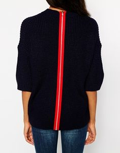Warehouse Waffle Stitch Oversize Zip Back Tee || I am dying over that red zipper.