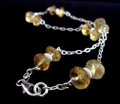 925 STERLING SILVER CUSTO MADE  LADIES ANKLET W/ 24 CTS GENUINE CITRINE 10''