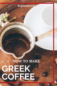 Greek coffee is one of the healthiest coffees in the world. It is well brewed with a frothy cream top. Learn all about Greek coffee and how to make it yourself. Greek Recipes, Real Food Recipes, Healthy Recipes, Greek Cooking, Fruit Water, Muesli, Smoothie Bowl, Menu Planning, Cooking Classes