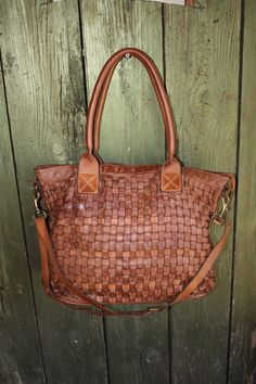 Italian Woven Leather Handmade Purse, Leather Tote Handbag, Soft Leather Bag, Distressed Leather Bag!