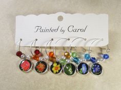 Flower Garden Wine charms  Rainbow Color Flowers by PaintedbyCarol