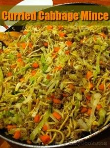 Curried Cabbage Mince - The Klutzy Cook - food - Meat Recipes Easy Mince Recipes, Minced Beef Recipes, Minced Meat Recipe, Curry Recipes, Meat Recipes, Cooking Recipes, Cooked Cabbage Recipes, Kitchen Recipes, Diabetic Recipes