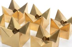 Six Brass Star Candleholders Designed by Pierre Forssell for Skultuna, 1960s   Six pieces.