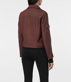 Womens Harland Leather Biker Jacket (BORDEAUX RED) - product_image_alt_text_4