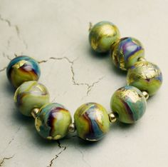 Lampwork Glass Bead Set Blue Green Purple by StoneDesignsbySheila, $58.00