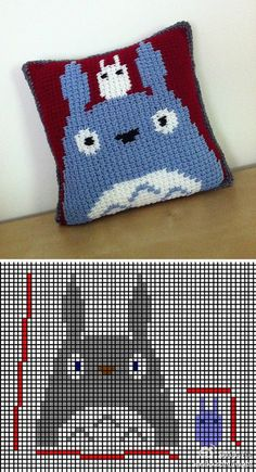 Totoro cross stitch pattern and pillow - could mod it for knitting! Cross Stitching, Cross Stitch Embroidery, Cross Stitch Patterns, Crochet Patterns, Totoro Pillow, Crochet Toys, Knit Crochet, Nerd Crafts, Crochet Home Decor