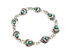 """Vintage 1990s Turquoise and Sterling Silver Bear Claw Shadow Box Link 7.5"""" Southwestern Tribal Bracelet by TheGemmary on Etsy"""