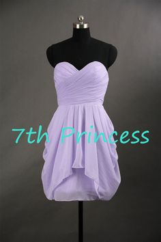 Sweetheart Knee-length Short Lilac/Light Purple Bridesmaid Dress Wedding Party Dress Prom Dress 2014 on Etsy, $67.00