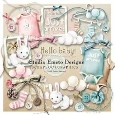 Hello Baby mini kit by Emeto designs Free Digital Scrapbooking, Digital Papers, Cute Scrapbooks, 1st Birthday Pictures, Diy And Crafts, Paper Crafts, Kit, Printable Paper, Scrapbook Albums
