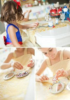 Mirror, Mirror: The girls decorated their own gold handheld mirrors with jewels.