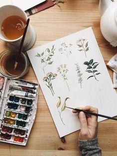 Delicate Florals Watercolor Print | Etsy Watercolor Artwork, Watercolor Print, Watercolor Illustration, Botanical Illustration, Watercolor Sketch, Sketch Art, Watercolor Flowers, Art Hoe Aesthetic, Arte Sketchbook