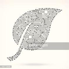 TD Tattoo Vector Art : Leaf on Circuit Board Wedding Greeting Cards - Wedde Circuit Board Tattoo, Circuit Board Design, Ant Tattoo, Tech Tattoo, Tattoos, Lino Art, Greeting Card Companies, Zen, Paper Collage Art