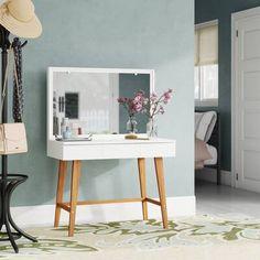 Ebern Designs Krug Vanity with Mirror Corner Makeup Vanity, Mirrored Vanity Desk, Makeup Table Vanity, Wooden Vanity, Vanity Set With Mirror, Vanity Room, Makeup Vanity Furniture, Makeup Tables, Makeup Vanities