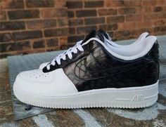 Remixdakicks Black and White Croc Custom Air Force Ones Sneakers