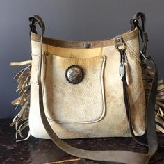 Vintage leather mini bucket with engraved sterling conchos on front & back pockets