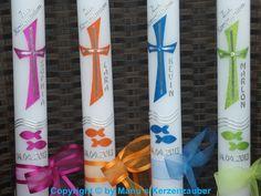 Taufkerzen - Taufkerze Kommunionkerze Konfirmationskerze - ein Designerstück von Manus-Kerzenzauber bei DaWanda