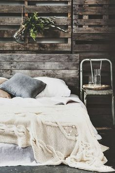 Bedsheets, pillows, palettes, rustic chair? Yes please.