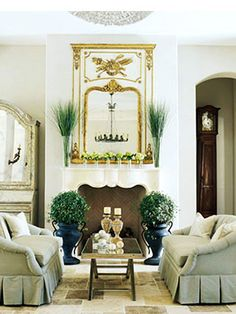 french livingrooms | Living room in French style with soft green sofas and French trumeau ...