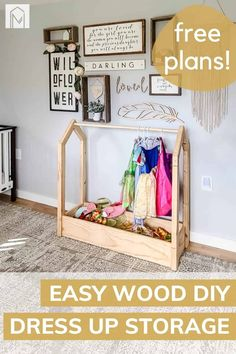 Dressing Up Storage Kids, Kids Storage, Playroom Storage, Playroom Design, Dress Up Area, Toddler Dress Up, Dress Up Storage, Diy Kids Furniture, Play Areas