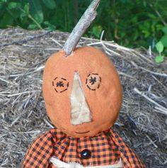Grungy Pumpkin Head Doll by colonialprimitives on Etsy