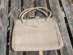 Utility Handbag Mid Century Vintage Bag. Canvas Material. Post WW2 Fashion. Handbag Prop Period Drama. Lulu Guinness, Pen Sets, Vintage Beauty, Canvas Material, Burlesque, Poodle, British, Essentials, War
