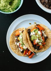 Sweet Potato and Black Bean Tacos with Avocado-Pepita Dip