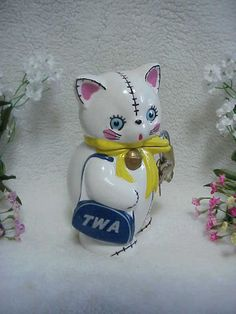 Vintage Napco 'TWA Airline Bag' Kitty Cat