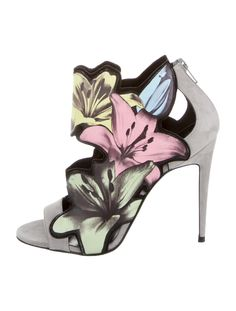Grey suede and multicolor pastel leather Pierre Hardy peep-toe pumps with floral painted design, stiletto heels and zip closures at backs. Includes box.