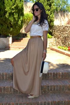 lace shirt with maxi skirt Maxi Skirt Outfits, Dress Skirt, Maxi Skirts, Maxi Dresses, Tan Skirt, Long Skirts, Nude Skirt, Girl Skirts, Cheap Skirts