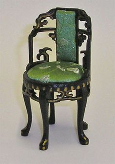 Miniature Black Lacquer Round Chair