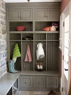 this mudroom is maximized with functionality and style