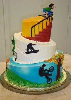 Extreme Sports Cake copy – For Goodness Cakes of Charlotte Sports Birthday Cakes, Sports Themed Cakes, Cupcakes, Cupcake Cakes, Bolo Sporting, Bmx Cake, Skateboard Cake, Extreme Cakes, Sport Cakes