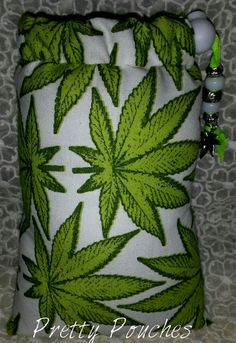 Spoon Sized Marijuana Leaf Print Padded Pipe by PrettyPouches, $15.00