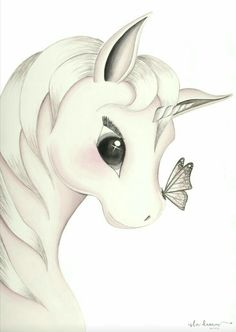 Cute unicorn with butterfly on her nose Dibujo, Pintura