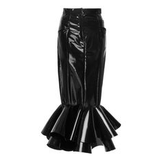 Balmain Sculpted Varnish Skirt (€5.335) ❤ liked on Polyvore featuring skirts, black, bottoms, balmain, balmain skirt, patent skirt, flared skirts and high-waisted skirt