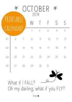 October - printable calendar | Elske | www.elskeleenstra.nl