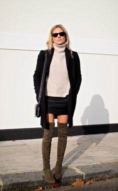 Fashion Gone rouge : Photo - wide cowl neck with black blazer mini skirt and over the knee suede olive green boots