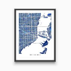 Hang a bit of fun, vibrant Miami Florida in your home with this Miami print!    This city map has a modern, abstract art design made from of lots of