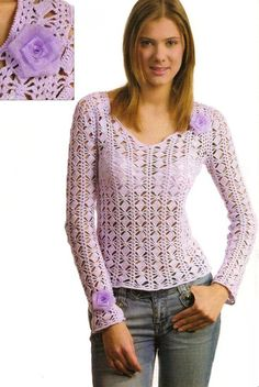 Irish lace, crochet, crochet patterns, clothing and decorations for the house, crocheted. Gilet Crochet, Crochet Motifs, Crochet Cardigan, Knit Crochet, Crochet Patterns, Crochet Stitch, Crochet Tops, Crochet Woman, Love Crochet