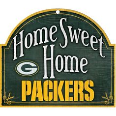 """NFL Green Bay Packers inch Wood """"Home Sweet Home"""" Arch Sign - NFL Green Bay Packers inch Wood """"Home Sweet Home"""" Arch Sign Made in USAPerfect for the fanDurable and wipes cleanIndoor or outdoor useVibrant Colors NFL Green Ba Packers Gear, Packers Football, Greenbay Packers, Football Team, Wood Signs For Home, Home Signs, Lamar Cardinals, Green Bay Packers Merchandise, Nfl Green Bay"""