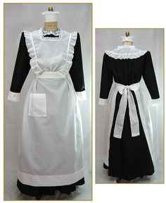 """Cotton/Poly Broadcloth. Color: White. Lightly gathered on each side of waistline, attached to 2"""" waistband which covers elastic waist of skirt. Back ties for full bow, front square pocket, and deep hem. Attached square neck bib trimmed with gathered eyelet. Circa 1890-1905."""