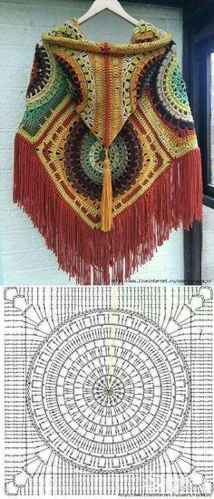 Crochet poncho Multicolor Cape  