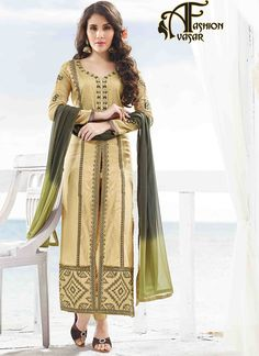 Achkan Style Suits Designs Beige Color.Add grace and charm on your appearance in this desirable French Beige Satin Unstitched Salwar Kameez. The lovely Resh