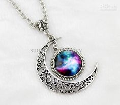 Gorgeous Moon Necklace ,Charm Necklace,Silver Hollow Star Galactic Cosmic Moon Necklace Online with $1.08/Piece | DHgate
