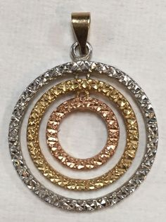 VNTG MULTI COLORED 14K GOLD NECKLACE PENDANT TRIPLE CIRCLE OF LOVE LIFE ETERNITY