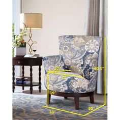 NH Designs Swivel Accent Chair Flower Pattern